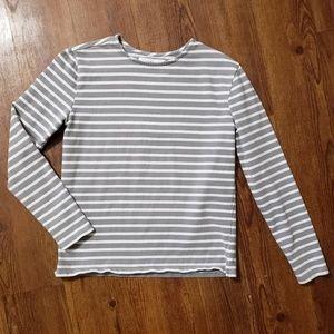 Everlane grey & white striped long sleeve tee